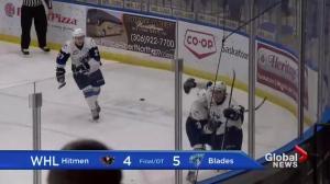 Jesse Shynkaruk leads Saskatoon Blades past Calgary Hitmen 5-4 in OT