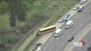 School bus crashes into retaining wall along Edmonton's Whitemud Drive