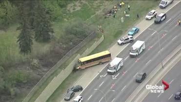 11 kids taken to hospital after school bus crash on
