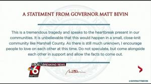 Kentucky governor, other officials issue statements on school shooting