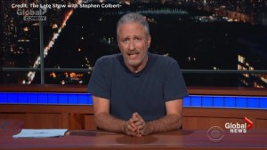 "Jon Stewart blasts Trump in guest spot with Stephen Colbert, says Canada a bunch of ""giant a**holes' under Trump"