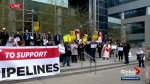 Protestors gather in Calgary to support Trans Mountain pipeline expansion