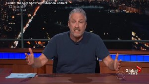 'He f***ing destroyed Hawaii!' Jon Stewart tears into Trump during rant on Colbert show