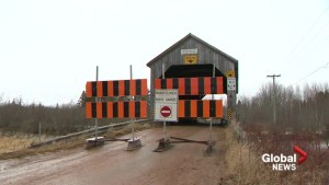 N.B. covered bridge damaged by crash