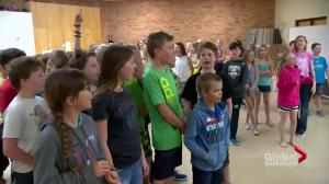 Young SkyTrackers at Outlook Elementary School learn about tornado safety