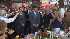 Prime Minister Trudeau lays flowers at site of Danforth mass shooting