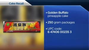 Food recall: Golden Buffalo brand pineapple cake