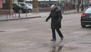 Slippery sidewalks, icy roads causing a treacherous commute for Winnipeggers