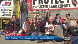 Anti-pipeline protesters gather at Kinder Morgan facility in Burnaby