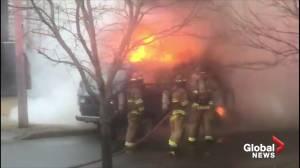Firefighters extinguish VW camper van blaze in Halifax (02:28)
