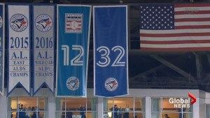 Blue Jays retire Roy Halladay's No. 32 in opening day ceremony