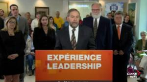 Mulcair says he is committed to long-term planning when it comes to sustainable healthcare