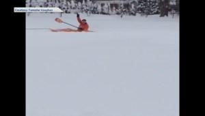 Snow kayaking in Chilliwack, B.C.