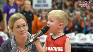 Three-year old becomes youngest national anthem singer in Carrier Dome history