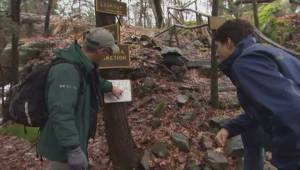 PM Trudeau goes for a hike in Gananoque to promote Canada's national parks