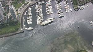 Aerial view of  fuel slick in Vancouver's Coal Harbour
