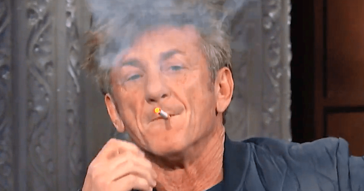 Sean Penn Smokes During Interview With Stephen Colbert