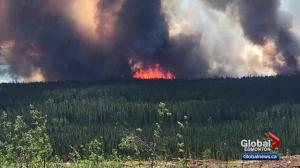 Wildfire burning near Hinton, Alberta