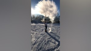 Canadians experiment tossing hot water into cold air creating instant vapour
