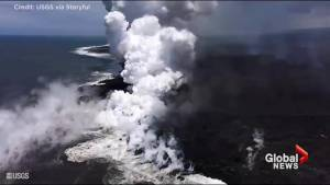 Hawaii's Kīlauea volcano lava floes pour into the sea, creating 'littoral explosions'