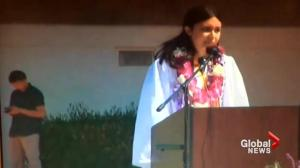 Valedictorian has microphone turned off after she brings up sexual assault allegations at her school
