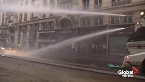 Police use water cannon against Yellow Vests protesters in Paris