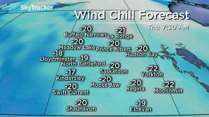 Saskatoon weather outlook: -20 wind chills, snow and rain ahead
