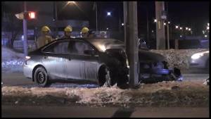 Car slams into hydro pole in Peterborough