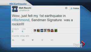Social media reaction to BC earthquake