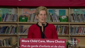 Premier Wynne announced free child care for pre-schoolers in 2020