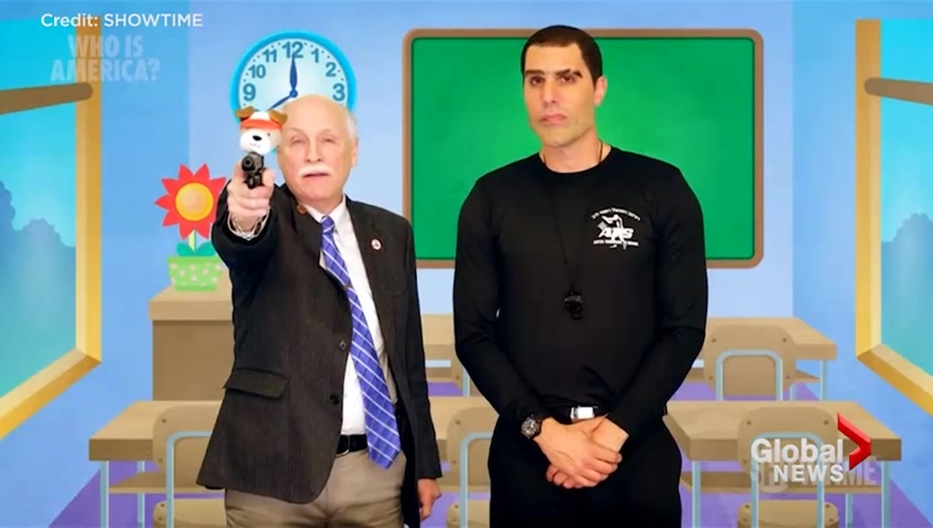 Sacha Baron Cohen Flees After Being Called Out by Gun Store Owner