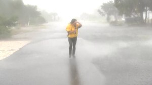 Reporter battered by Hurricane Florence as she walks through 'ghost town' Oak Island, NC