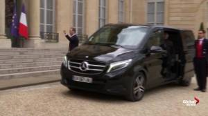 Mark Zuckerberg arrives for meeting with Emmanuel Macron