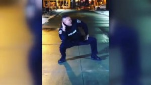 Ontario police officer shows off dance moves during video shoot