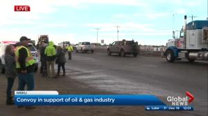 Huge truck convoy in Nisku in support of energy industry