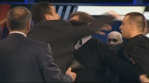 Brawl erupts during taping of Russian TV talk show