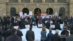 Opponents of controversial Bill C-69 gather at Calgary protest rally
