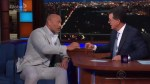 The Rock does tequila shots with Stephen Colbert