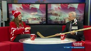 Olympian Stephanie Labbé brings Golden Hockey Stick to Edmonton