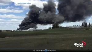 Massive trestle fire in Mayerthorpe