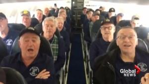 Celebrated Cape Breton choir 'Men of the Deeps' break out in song on board flight