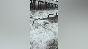 Hurricane Florence: Part of pier in North Carolina washes away as storm surge hits