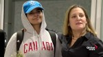 Freeland welcomes Saudi teen fleeing abusive family to Canada