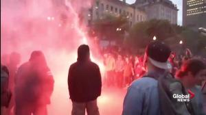 Fireworks, flares set off in Quebec City as part of G7 protests