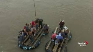 Some Migrants try to enter Mexico by river as caravan arrives at Mexico border