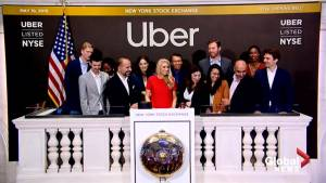 Ride-sharing service Uber opens on the New York Stock Exchange (01:03)