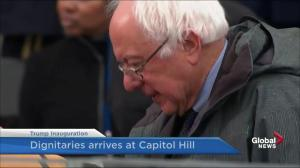 Trump inauguration: Bernie Sanders arrives at Capitol HIll