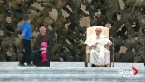 Pope Francis can't help but laugh at precocious little boy's interruption