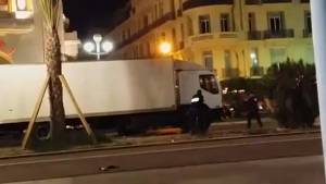 Raw video shows moment police open fire on truck involved in Nice attack