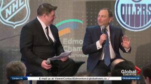 NHL commissioner enthused by Edmonton during visit to Alberta capital (01:02)